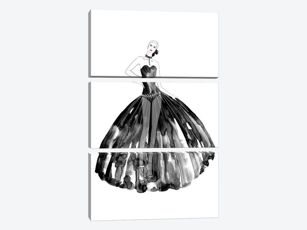 Beren Fashion Illustration In Black by blursbyai 3-piece Canvas Wall Art