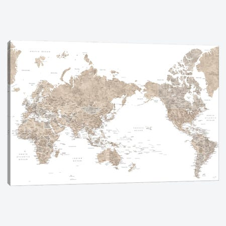 Pacific-Centered Detailed World Map In Neutral Watercolor Canvas Print #RLZ308} by blursbyai Canvas Artwork