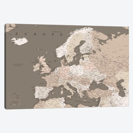 Detailed Map Of Europe In Brown Tones Canvas Print #RLZ315} by blursbyai Canvas Art