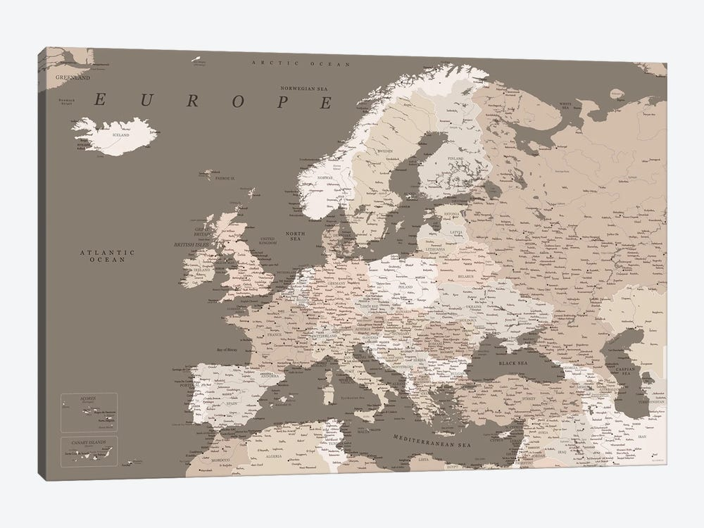 Detailed Map Of Europe In Brown Tones by blursbyai 1-piece Canvas Art