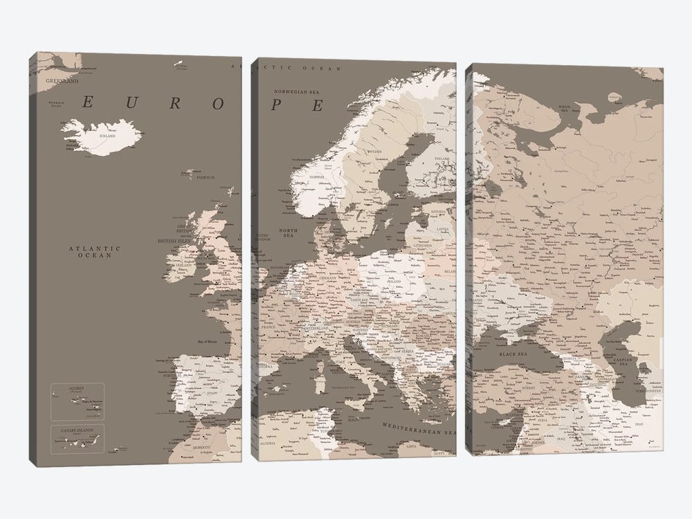 Detailed Map Of Europe In Brown Tones by blursbyai 3-piece Canvas Art