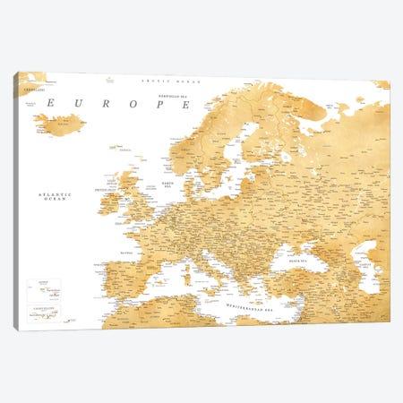 Detailed Map Of Europe In Gold Ochre Canvas Print #RLZ316} by blursbyai Canvas Art