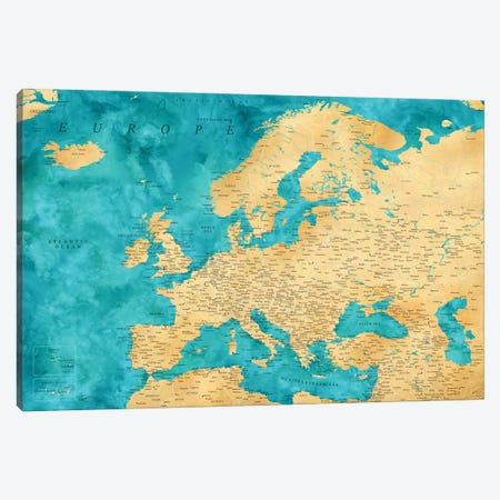 Detailed Map Of Europe In Teal And Gold Ochre Canvas Print #RLZ317} by blursbyai Canvas Art