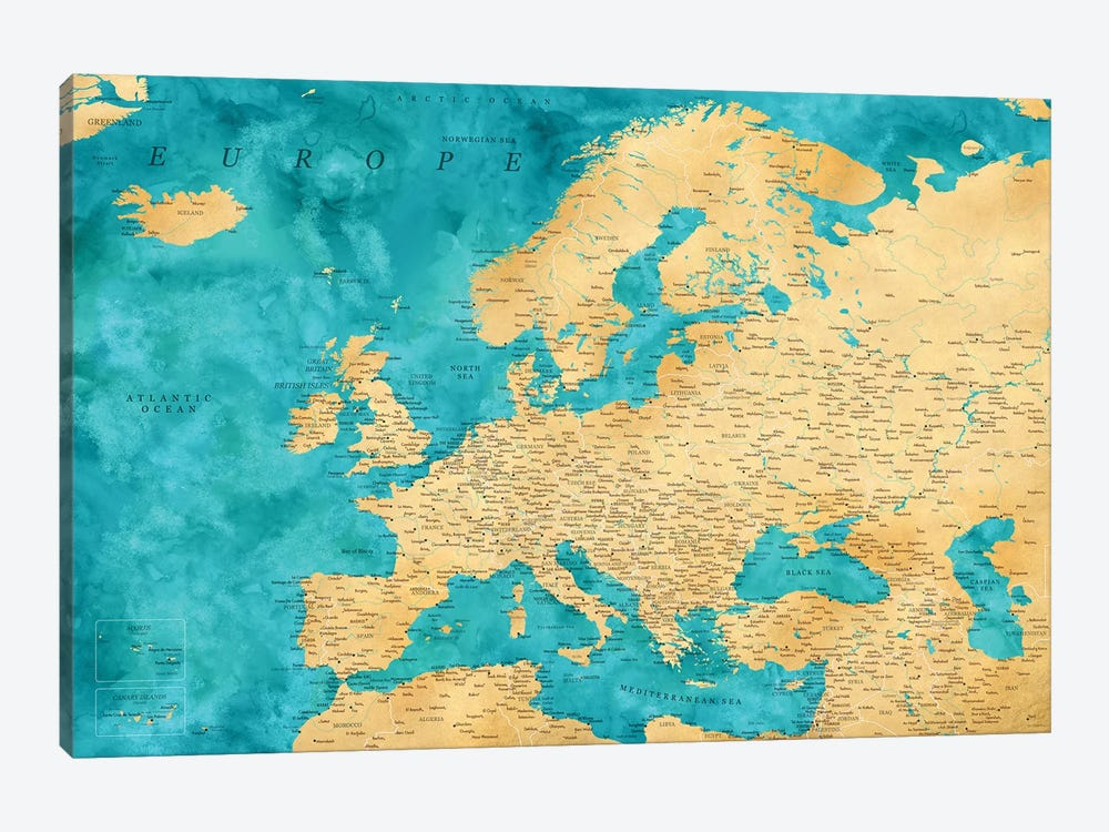 Detailed Map Of Europe In Teal And Gold Ochre by blursbyai 1-piece Canvas Art
