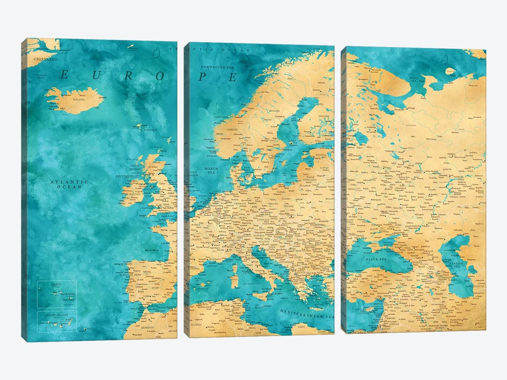Detailed Map Of Europe In Teal And Gold Ochre by blursbyai 3-piece Canvas Artwork