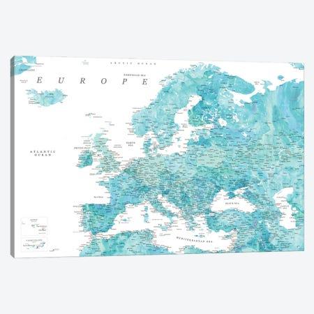 Detailed Map Of Europe In Aquamarine Watercolor Canvas Print #RLZ318} by blursbyai Art Print