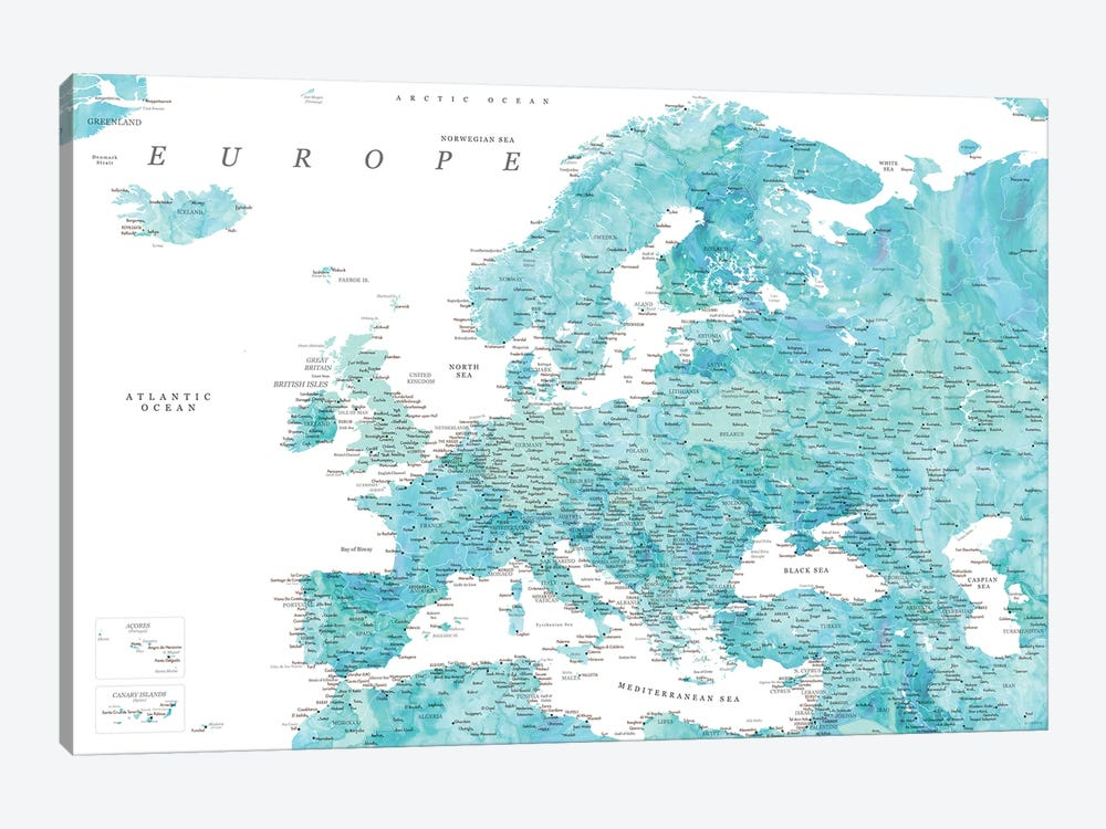 Detailed Map Of Europe In Aquamarine Watercolor by blursbyai 1-piece Art Print