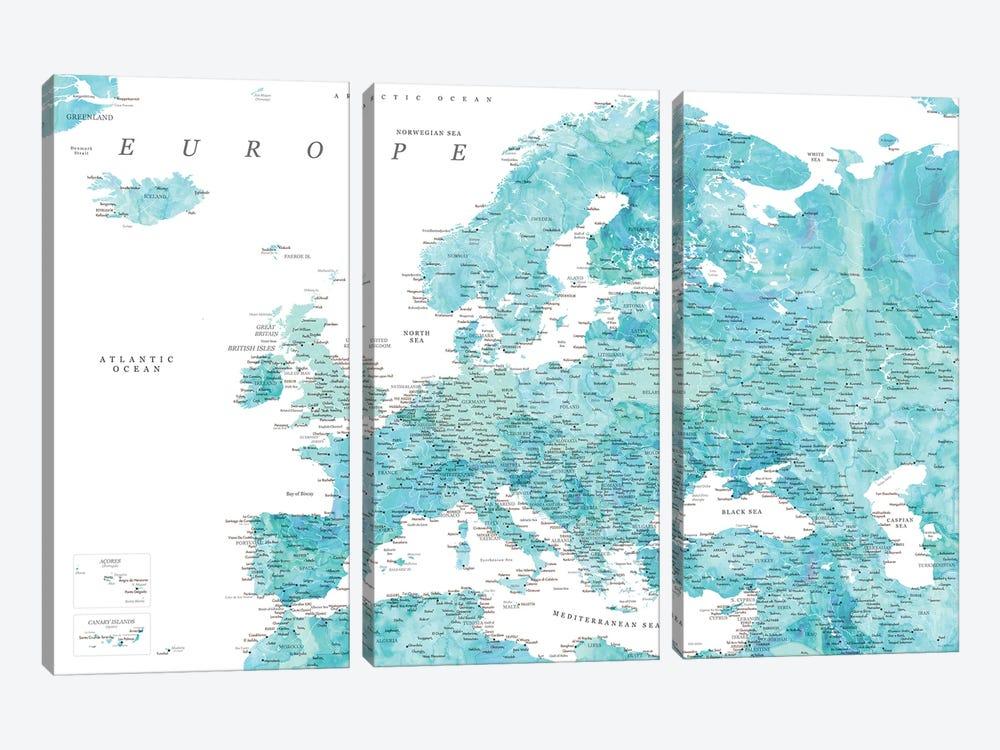Detailed Map Of Europe In Aquamarine Watercolor by blursbyai 3-piece Art Print