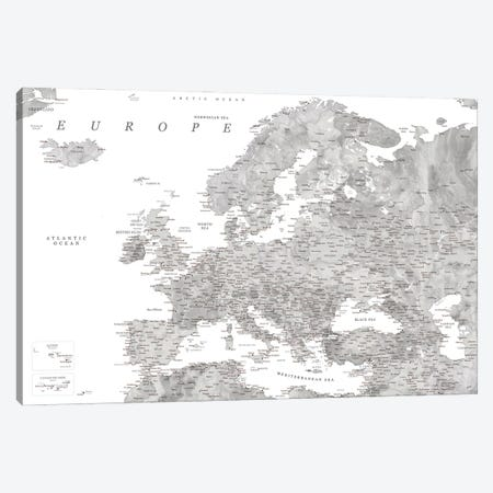 Detailed Map Of Europe In Gray Watercolor Canvas Print #RLZ320} by blursbyai Canvas Art