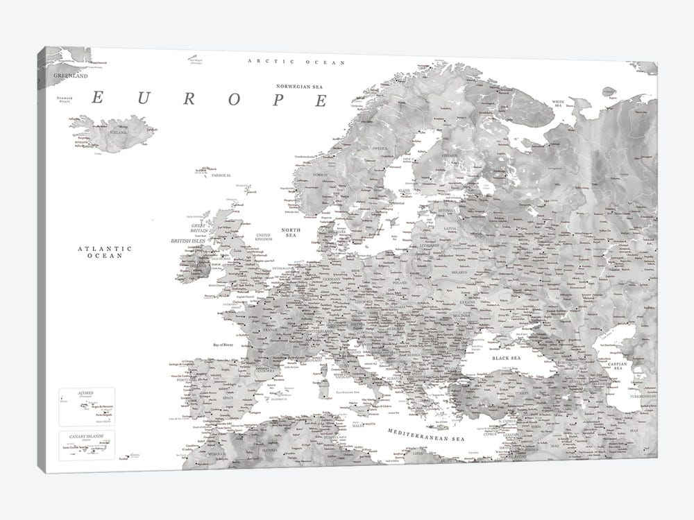 Detailed Map Of Europe In Gray Watercolor by blursbyai 1-piece Canvas Artwork