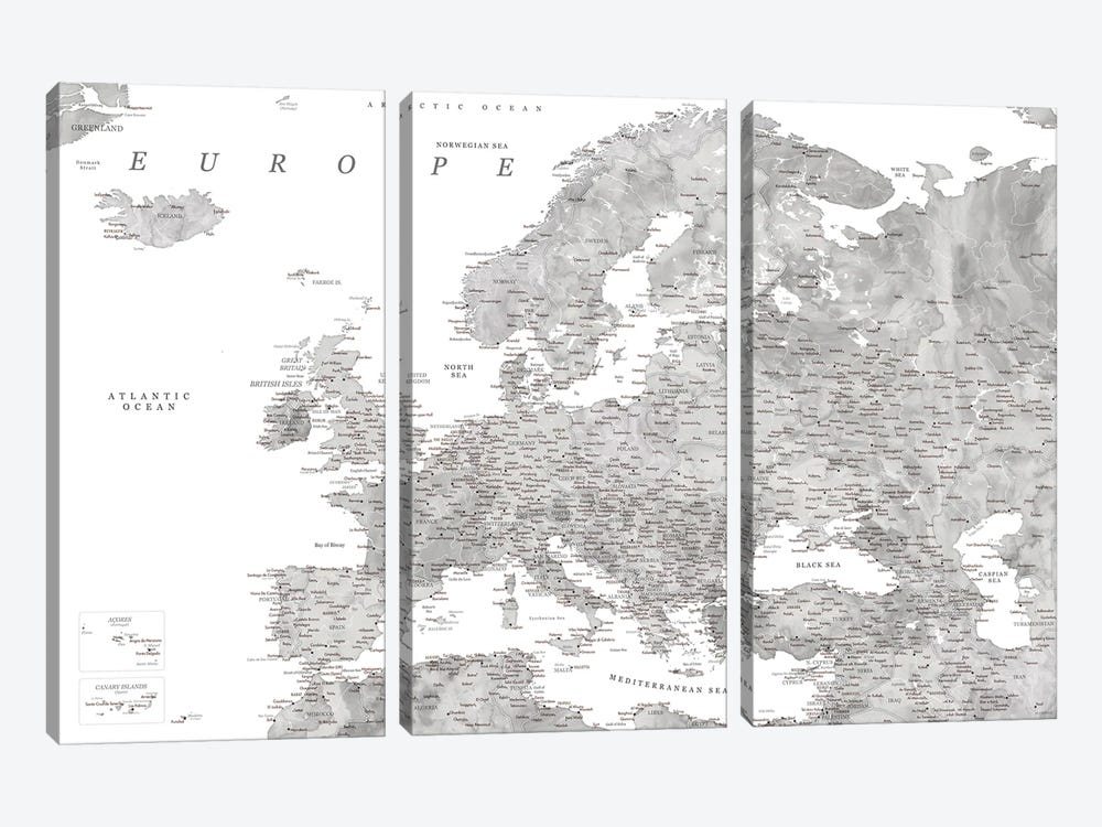 Detailed Map Of Europe In Gray Watercolor by blursbyai 3-piece Canvas Wall Art