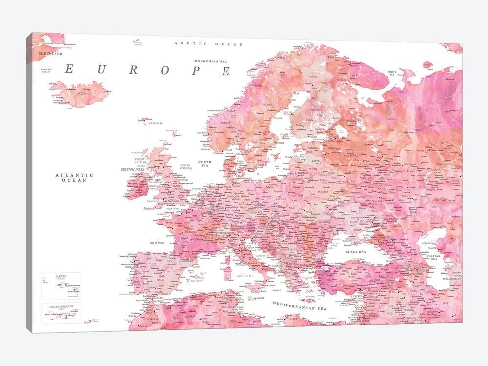 Detailed Map Of Europe In Hot Pink Watercolor by blursbyai 1-piece Canvas Art Print