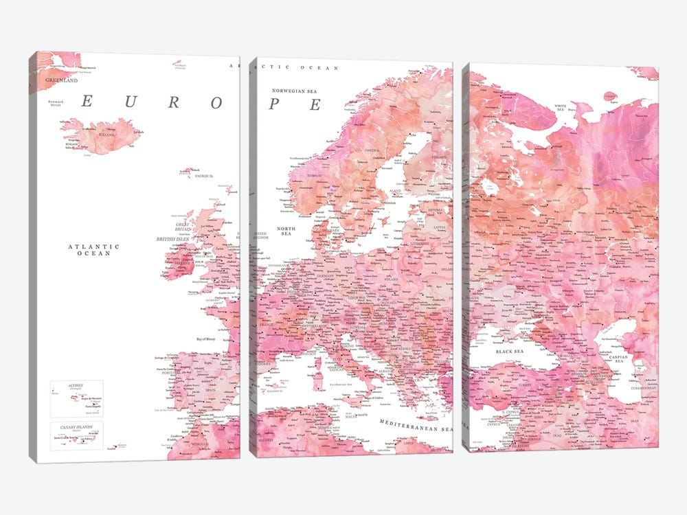 Detailed Map Of Europe In Hot Pink Watercolor by blursbyai 3-piece Art Print