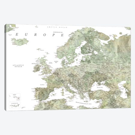 Detailed Map Of Europe In Green Watercolor Canvas Print #RLZ323} by blursbyai Canvas Artwork