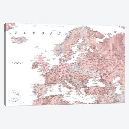 Detailed Map Of Europe In Dusty Pink Watercolor Canvas Print #RLZ324} by blursbyai Art Print