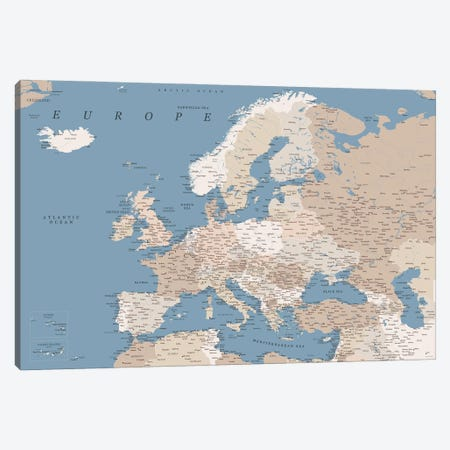 Detailed Map Of Europe In Blue Beige And Brown Watercolor Canvas Print #RLZ326} by blursbyai Art Print