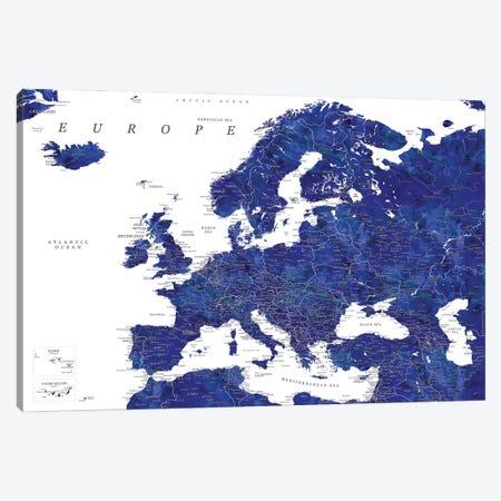 Detailed Europe Map In Navy Blue Canvas Print #RLZ332} by blursbyai Canvas Print