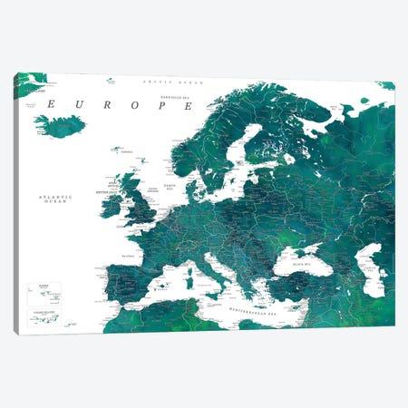 Detailed Europe Map In Teal Canvas Print #RLZ333} by blursbyai Art Print