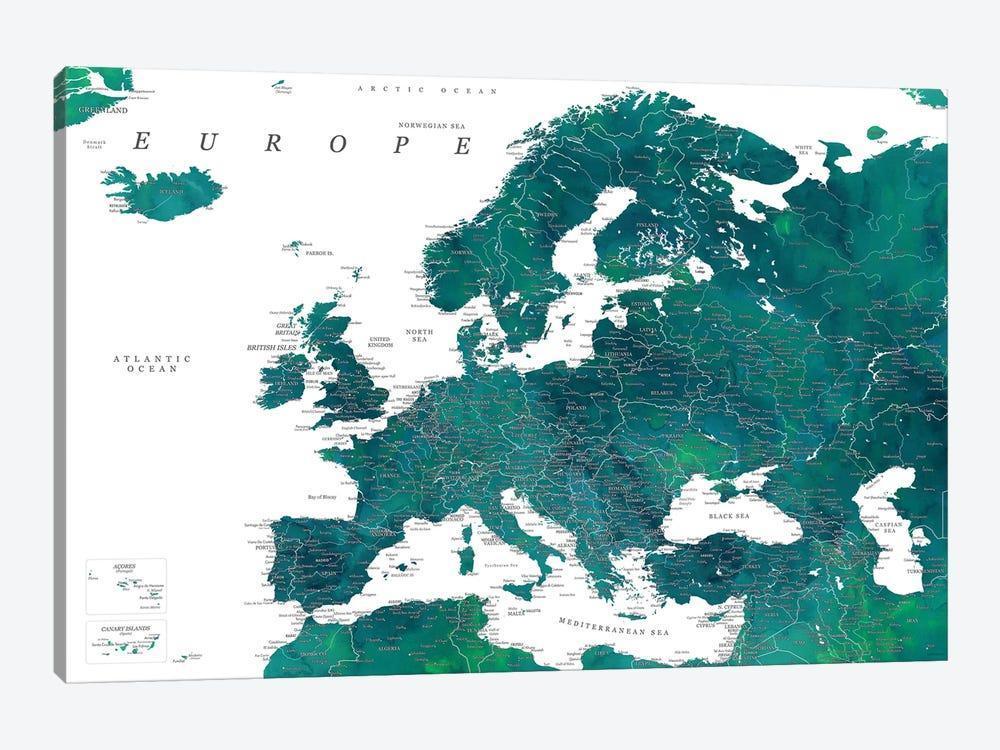 Detailed Europe Map In Teal by blursbyai 1-piece Canvas Art