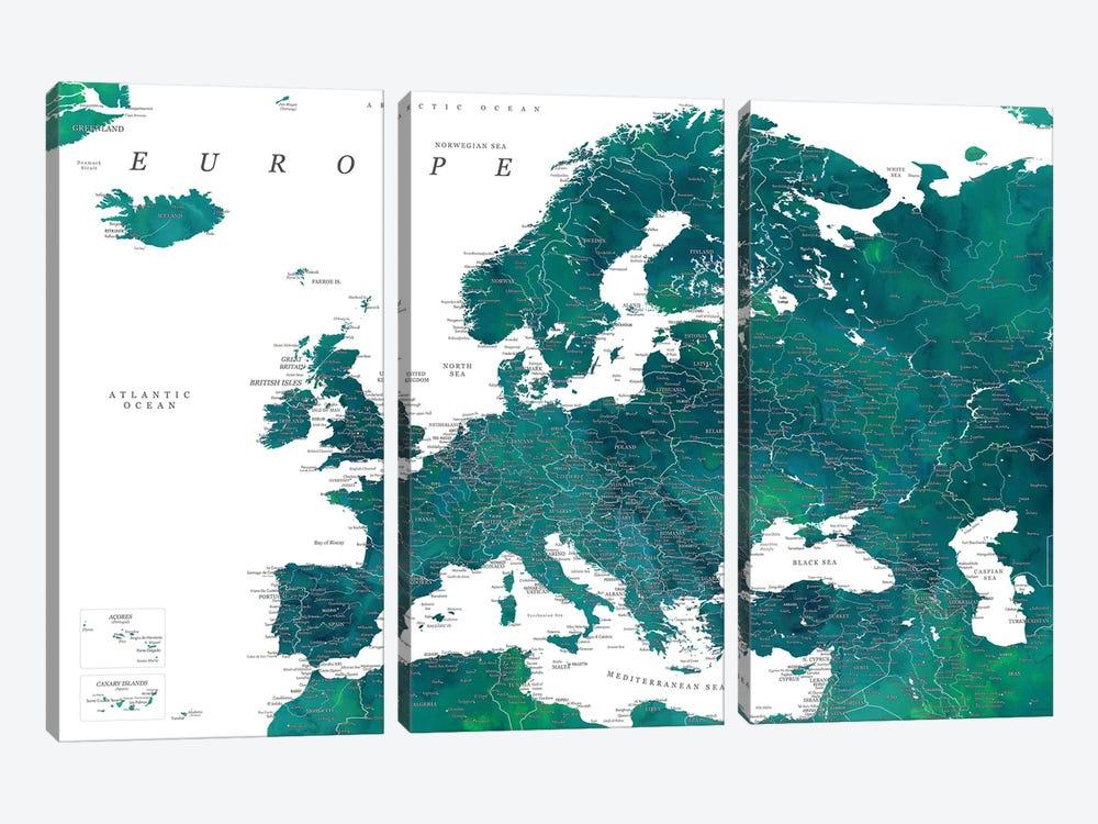 Detailed Europe Map In Teal by blursbyai 3-piece Canvas Wall Art