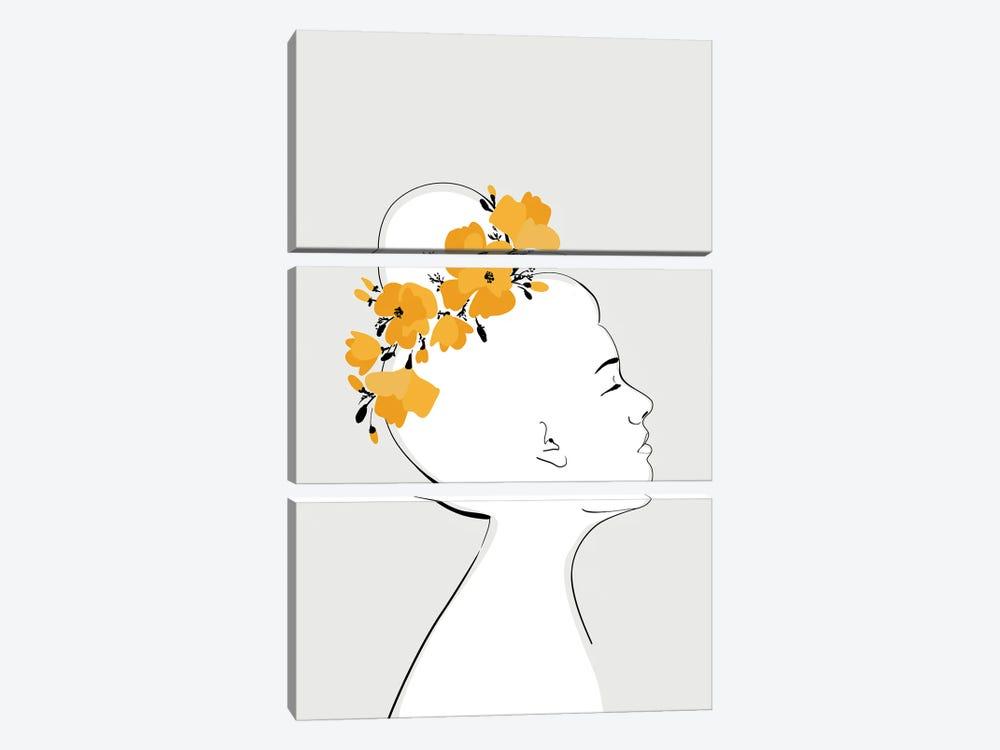 Sanyu Portrait With California Poppies by blursbyai 3-piece Canvas Print