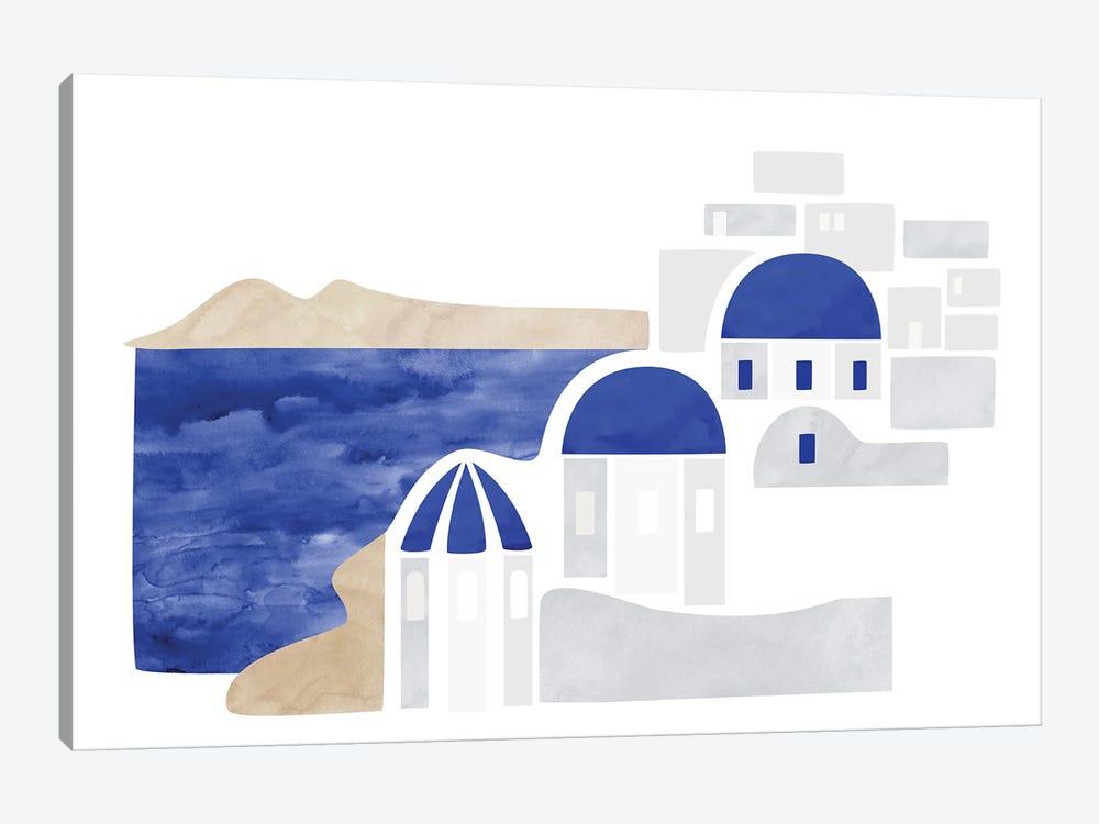Santorini Shapes by blursbyai 1-piece Art Print