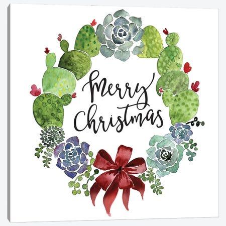 Cacti Wreath Merry Christmas Canvas Print #RLZ37} by blursbyai Canvas Print