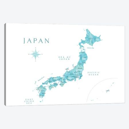 Map Of Japan In Aquamarine Watercolor Canvas Print #RLZ380} by blursbyai Canvas Artwork