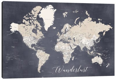 Wanderlust Detailed World Map In Distressed Blue And Brown, Glyn Canvas Art Print