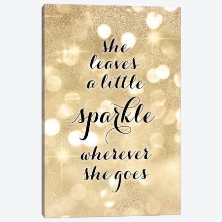 She Leaves A Little Sparkle Wherever She Goes In Gold Glitter Bokeh Canvas Print #RLZ384} by blursbyai Canvas Print