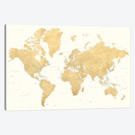 Highly Detailed World Map In Gold Ochre And Cream, Senen Canvas Print #RLZ387} by blursbyai Canvas Print