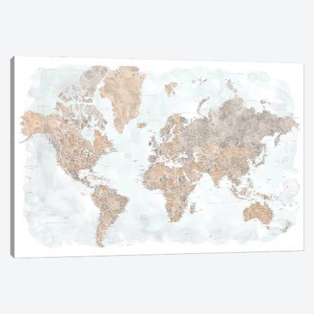 Highly Detailed Watercolor World Map, Calista Canvas Print #RLZ389} by blursbyai Canvas Wall Art
