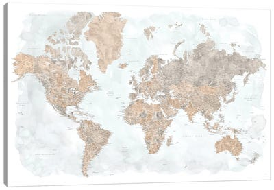 Highly Detailed Watercolor World Map, Calista Canvas Art Print