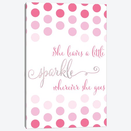 She Leaves A Little Sparkle Wherever She Goes In Pink Polka Dots Canvas Print #RLZ38} by blursbyai Canvas Wall Art