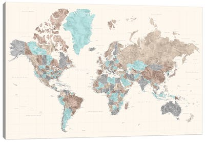 Highly Detailed Watercolor World Map, Romy Canvas Art Print
