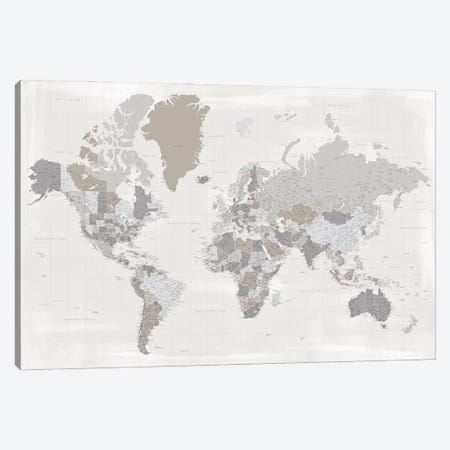 Highly Detailed World Map In Taupe, Donah Canvas Print #RLZ391} by blursbyai Canvas Art Print