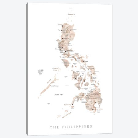 Map Of The Philippines In Neutral Watercolor Canvas Print #RLZ392} by blursbyai Art Print