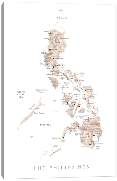 Map Of The Philippines In Neutral Watercolor Canvas Art Print