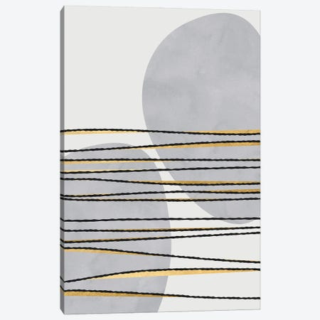 Gilded Lines And Shapes In Gray Canvas Print #RLZ396} by blursbyai Canvas Art