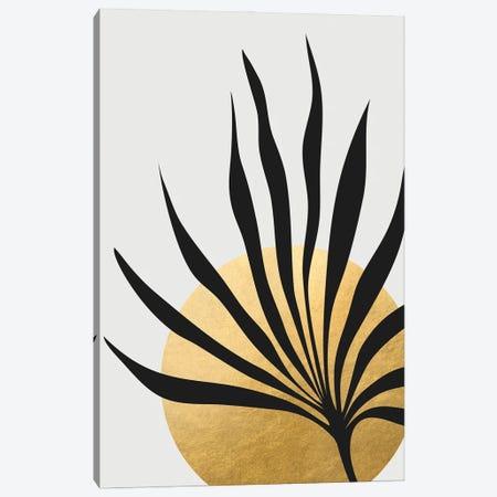 Tropical Sun And Palm Leaf Canvas Print #RLZ397} by blursbyai Canvas Wall Art