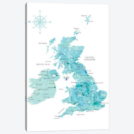 Map Of The United Kingdom In Aquamarine Watercolor Canvas Print #RLZ399} by blursbyai Canvas Art Print