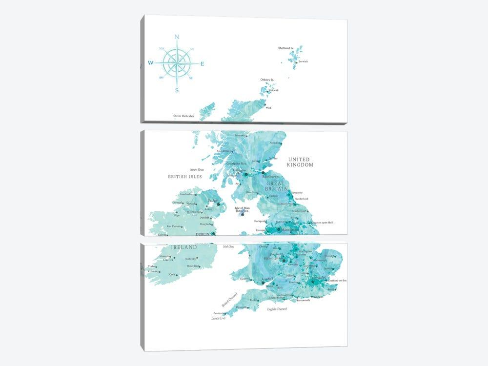 Map Of The United Kingdom In Aquamarine Watercolor by blursbyai 3-piece Canvas Artwork