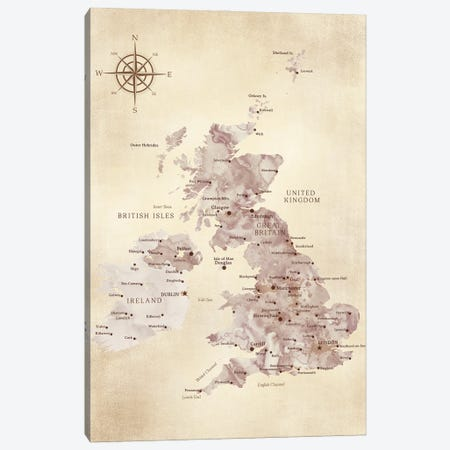Map Of The United Kingdom In Vintage Style Canvas Print #RLZ401} by blursbyai Art Print