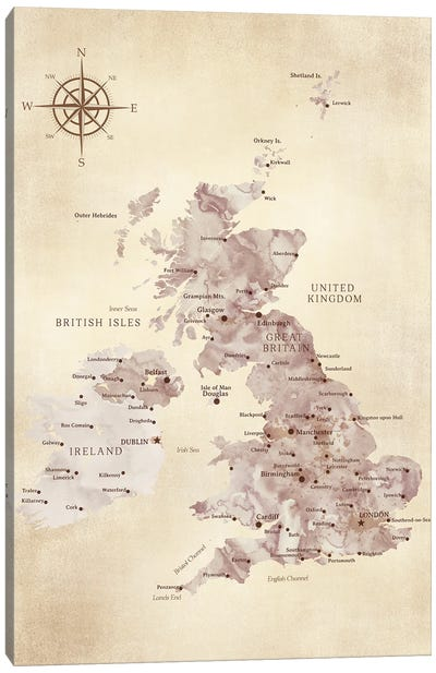 Map Of The United Kingdom In Vintage Style Canvas Art Print