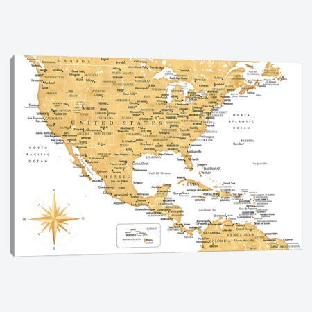 Map Of The Usa And The Caribbean Area In Gold Ochre Canvas Print #RLZ408} by blursbyai Canvas Art Print