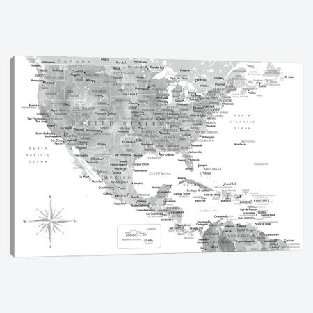Map Of The Usa And The Caribbean Area In Gray Watercolor Canvas Print #RLZ409} by blursbyai Art Print