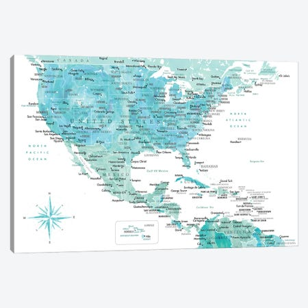 Map Of The Usa And The Caribbean Area In Aquamarine Watercolor Canvas Print #RLZ410} by blursbyai Canvas Wall Art