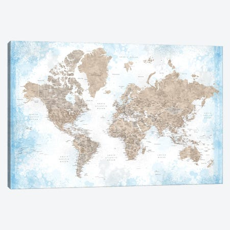 Watercolor Detailed World Map In Blue And Brown, Ghada Canvas Print #RLZ413} by blursbyai Canvas Artwork