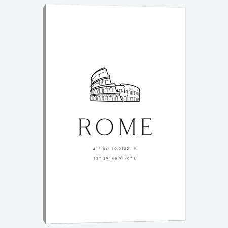 Rome Coordinates With Colosseum Sketch Canvas Print #RLZ415} by blursbyai Art Print