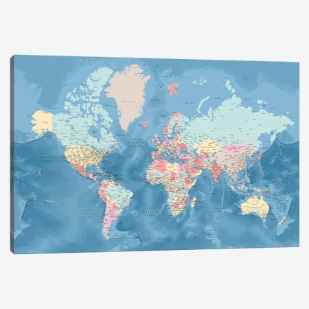 Detailed World Map With Cities In Pastel Colors, Vickie Canvas Print #RLZ424} by blursbyai Canvas Artwork
